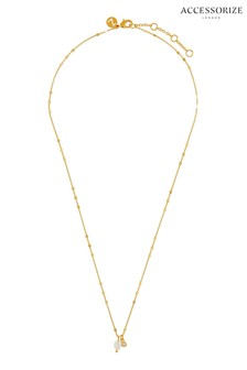 Accessorize Gold Tone Organic Pearl Sparkle Cham Necklace
