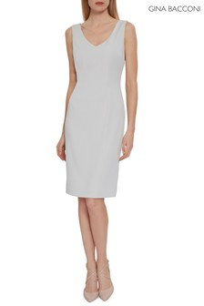 Gina Bacconi Grey Merna Crepe Shift Dress