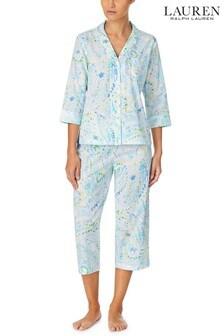 Lauren Ralph Lauren® Classic Woven 3/4 Sleeve Notch Collar Pyjamas