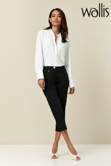 Wallis Petite Black Cotton Cropped Trousers