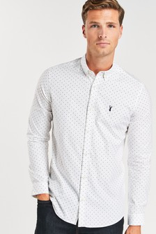 Print Long Sleeve Stretch Oxford Shirt