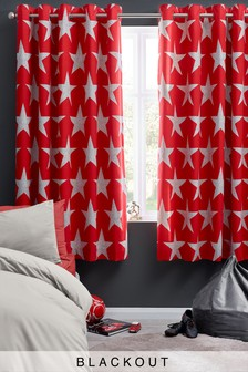 Star Print Eyelet Blackout Curtains