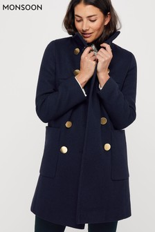 Monsoon Blue Louis Funnel Neck Coat