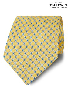 T.M. Lewin Made In Italy Wide Yellow, Navy And White Chain Link Tie