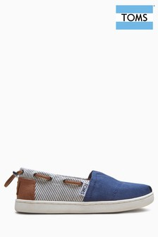 Toms Navy Canvas Stripes Bimini Shoe