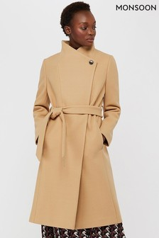 Monsoon Camel Rita Wrap Collar Long Coat