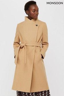 Monsoon Camel Rita Wrap Collar Long Coat