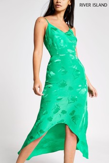 River Island Green Jacqaurd High Low Hem Maxi Dress