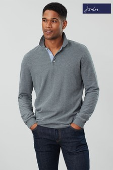 Joules Grey Woodwell Long Sleeve Classic Fit Polo