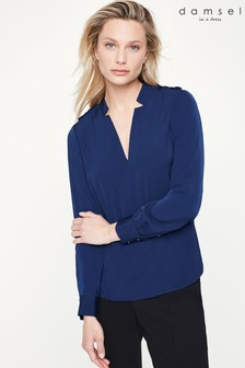 Damsel In A Dress Blue Hailey V-Neck Blouse