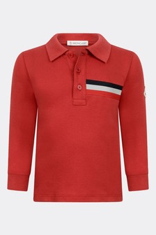 Baby Boys Red Cotton Long Sleeve Polo Top
