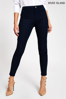 River Island Navy Twill Molly Skinny Trousers
