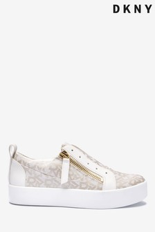 DKNY Cream Logo Print Slip-On Trainers