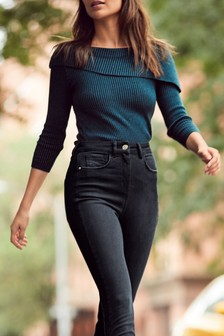 Asymmetric Rib Knitted Jumper
