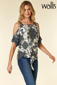 Wallis Green Khaki Paisley Cold Shoulder Top