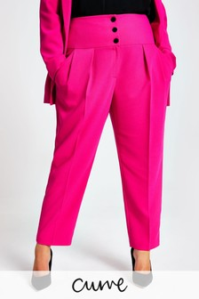 River Island Pink Plus Size Corset Cigarette Trousers
