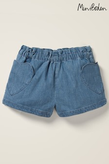 Mini Boden Denim Heart Pocket Shorts