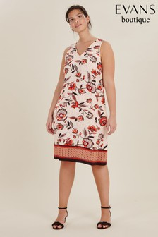 Evans Curve Natural Floral Print Pinny Dress