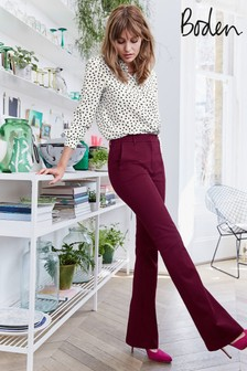 Boden Purple Bath Bi-Stretch Flare Trousers