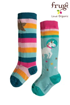 Frugi Unicorn Long Socks Two Pack