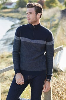 Colourblock Zip Neck