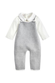Baby Boys Ivory & Grey Cotton Bodysuit
