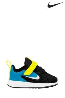 נעלי ספורט לריצה עם רצועת סקוץ׳ של Nike דגם Downshifter 9 בשחור/כחול לפעוטות