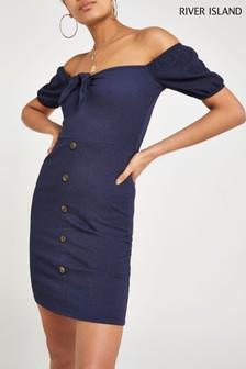 River Island Denim Blue Sam Textured Tie Front Button Dress