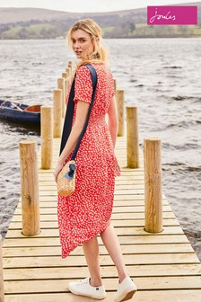 Joules Red Paloma Smocked Waist Dress
