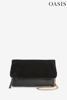Oasis Black Casual Leather Clutch