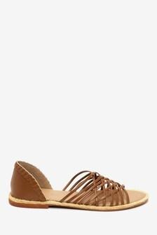 Leather Multi Strap Peep Toe Shoes