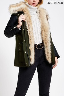 River Island Khaki Detroit Sleeve Wool Coat