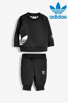 adidas Originals Infant Black Crew And Joggers Set