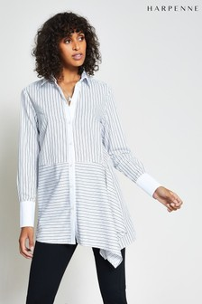 Harpenne White Asymmetric Stripe Shirt