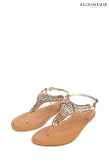 Accessorize Metallic Bethany Beaded Rose Gold Sandals