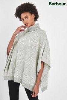 סוודר שכמייה מאריג צמר סקוטי עם פסים באפור דגם Rhonda של Barbour®