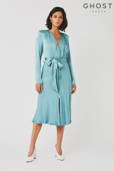 Ghost London Blue Meryl Satin Dress