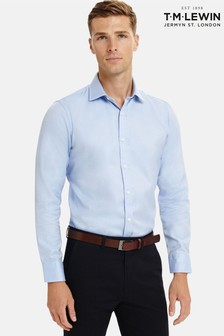 T.M. Lewin Fitted Plain Blue Luxury Twill Button Cuff Shirt