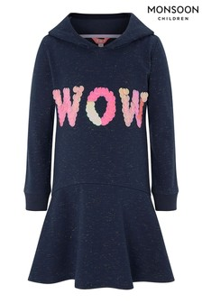 Monsoon Children Navy Wow Hooded Sweat Dress
