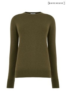 Warehouse Green Button Cuff Crew Jumper