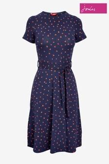 Joules Blue Monica Short Sleeve Jersey Dress With Belt