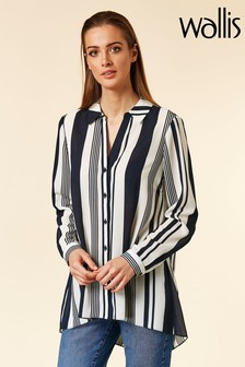Wallis Navy Stripe Hi Low Shirt