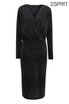 Esprit Black Lurex® Knitted Dress With V-Neck
