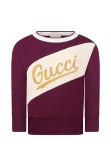 Boys Burgundy Cotton Logo Sweatshirt