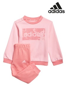adidas Infant Linear Logo Crew And Joggers Set
