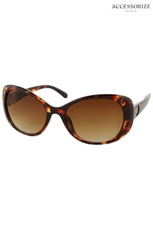 Accessorize Tan Willow Metal Detail Disc Wrap Sunglasses