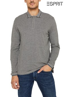 Esprit Grey Piqué Polo Long Sleeve