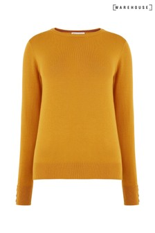 Warehouse Yellow Button Cuff Crew Jumper