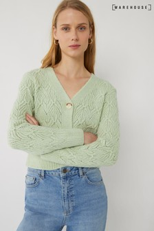Warehouse Green Stitched Cropped Cardigan