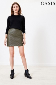 Oasis Green Faux Leather Mini Skirt